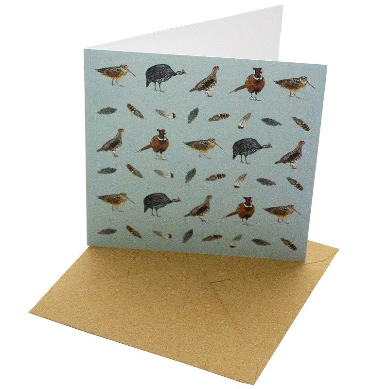 Re-wrapped: ECO Friendly Birthday Wrapping Paper Game Birds Greetings Card by Sophie Botsford made from 100% Unbleached Recycled Card