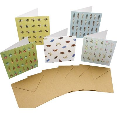 Re-wrapped: ECO Friendly Birthday Wrapping Paper Insect and Flower Large Pack Greetings Card by Sophie Botsford made from 100% Unbleached Recycled Card