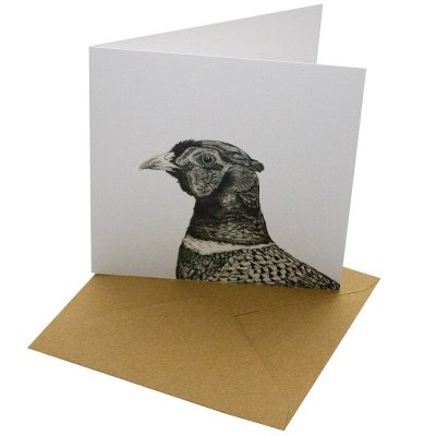 Re-wrapped: ECO Friendly Birthday Wrapping Paper Pen Pheasant Greetings Card by Sophie Botsford made from 100% Unbleached Recycled Card