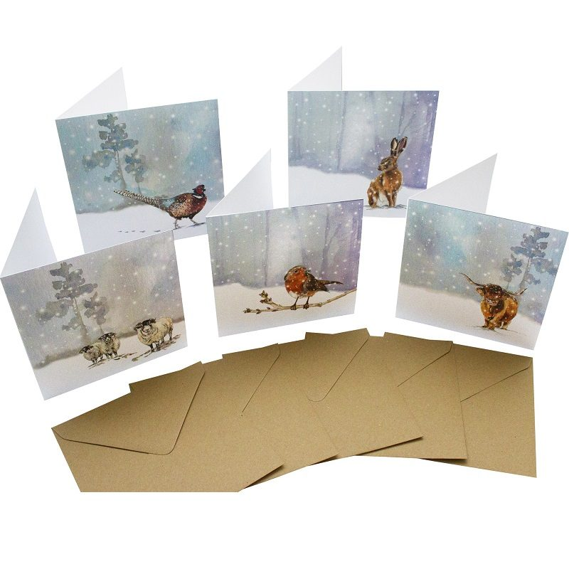 Re-wrapped: ECO Friendly Birthday Wrapping Paper Christmas Animal Large Pack Greetings Card by Sophie Botsford made from 100% Unbleached Recycled Card