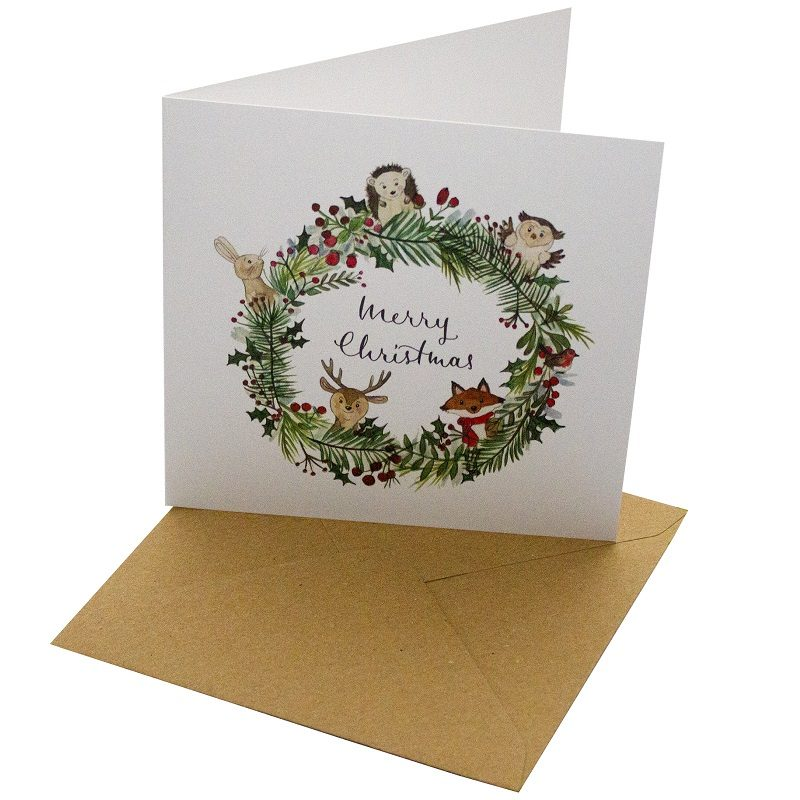 Re-wrapped: ECO Friendly Xmas Wrapping Paper Christmas Animals Wreath Greetings Card by Sophie Botsford made from 100% Unbleached Recycled Card