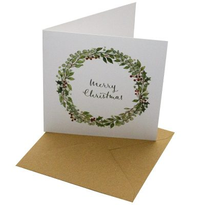 Re-wrapped: ECO Friendly Xmas Wrapping Paper Christmas Holly Wreath Greetings Card by Sophie Botsford made from 100% Unbleached Recycled Card