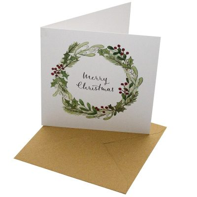 Re-wrapped: ECO Friendly Xmas Wrapping Paper Christmas Mistletoe Wreath Greetings Card by Sophie Botsford made from 100% Unbleached Recycled Card