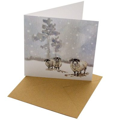 Re-wrapped: ECO Friendly Xmas Wrapping Paper Christmas Rams Greetings Card by Sophie Botsford made from 100% Unbleached Recycled Card