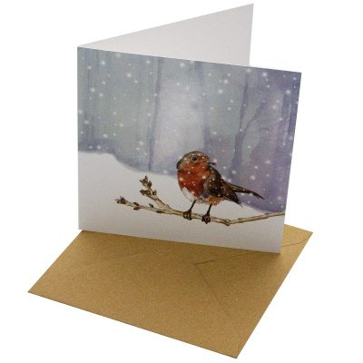 Re-wrapped: ECO Friendly Xmas Wrapping Paper Christmas Robin Greetings Card by Sophie Botsford made from 100% Unbleached Recycled Card