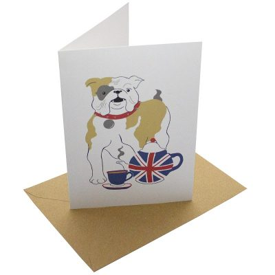Re-wrapped: ECO Friendly Birthday Wrapping Paper British Bulldog Greetings Card by Vicky Scott made from 100% Unbleached Recycled Card