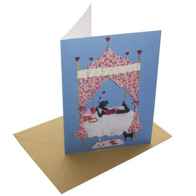 Re-wrapped: ECO Friendly Birthday Wrapping Paper Cat and Cake TIme Greetings Card by Vicky Scott made from 100% Unbleached Recycled Card