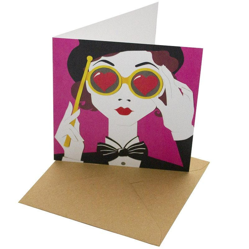 Re-wrapped: ECO Friendly Birthday Wrapping Paper Opera Night Greetings Card by Vicky Scott made from 100% Unbleached Recycled Card