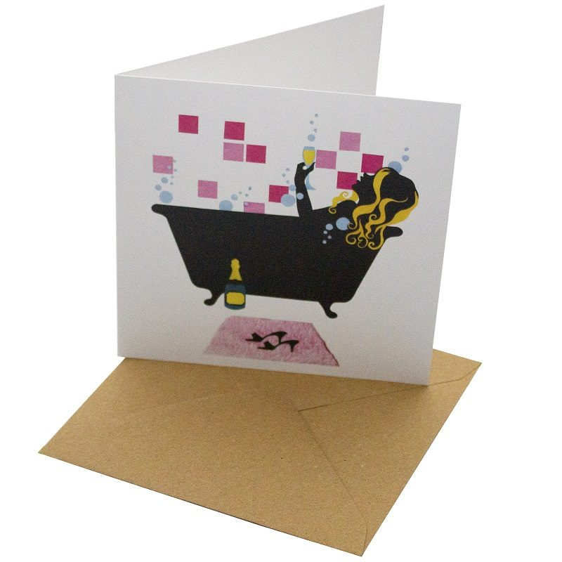 Re-wrapped: ECO Friendly Birthday Wrapping Paper Bath Time Greetings Card by Vicky Scott made from 100% Unbleached Recycled Card