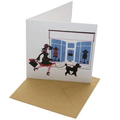 Re-wrapped: ECO Friendly Birthday Wrapping Paper Shopping Greetings Card by Vicky Scott made from 100% Unbleached Recycled Card