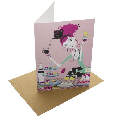 Re-wrapped: ECO Friendly Birthday Wrapping Paper Time for Tea Greetings Card by Vicky Scott made from 100% Unbleached Recycled Card
