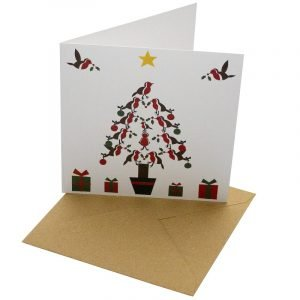 Re-wrapped: ECO Friendly Xmas Wrapping Paper Christmas Tree Robins Greetings Card by Vicky Scott made from 100% Unbleached Recycled Card