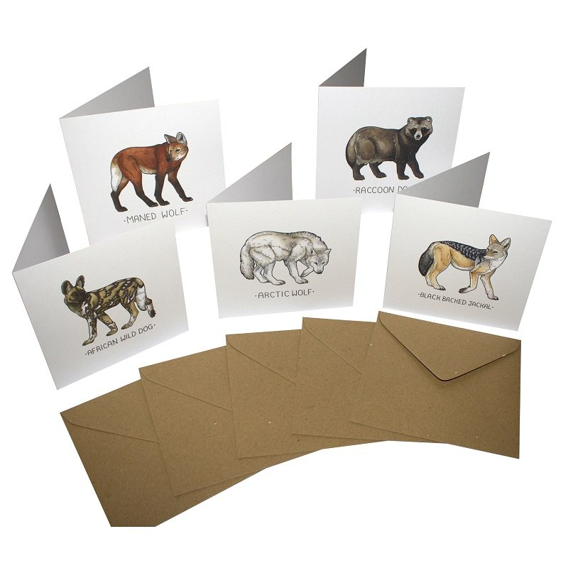 Re-wrapped: ECO Friendly Birthday Wrapping Paper Dogs Large Pack Greetings Card by Tamsin Adley made from 100% Unbleached Recycled Card